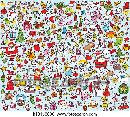 Christmas Illustrations Clip Art.Big Christmas Collection Of Fine Small Hand Drawn Illustrations Clip Art
