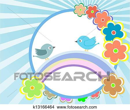 Bird And Flower Background Design Baby Boy Invitation Card