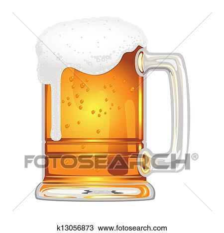 Clipart Birra Con Vescica In Boccale Vetro Bianco K13056873