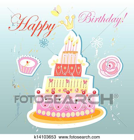 Marvelous Birthday Cake And Pastries Drawing K14103653 Fotosearch Funny Birthday Cards Online Eattedamsfinfo