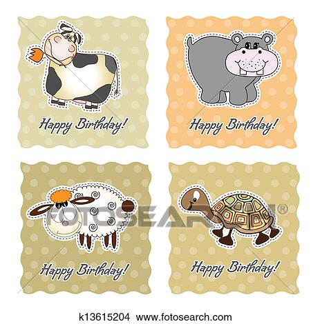 Birthday Card Set With Animals Clipart