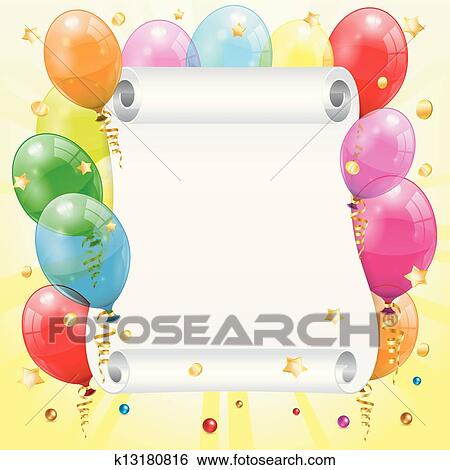 Clip Art of Birthday Frame k13180816 - Search Clipart, Illustration ...