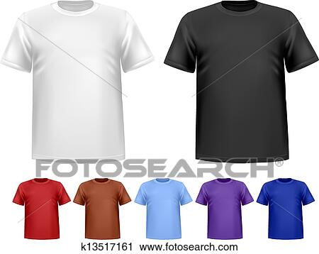 Clipart Of Black And White And Color Men Polo T Shirts Design