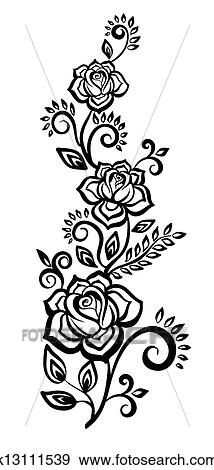 Clip art of black and white flowers and leaves k13111539 search black and white flowers and leaves floral design element mightylinksfo
