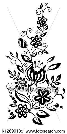 Clipart Of Black And White Flowers And Leaves Floral Design Element