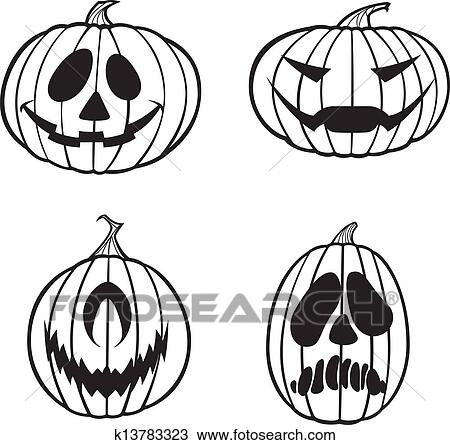 Black And White Jack O Lanterns Clipart K13783323