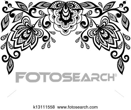 clip art of black and white lace flowers k13111558 search clipart rh fotosearch com lace vector art lace vector free