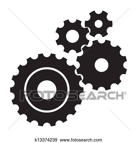 stock illustration of black cogs gears on white background
