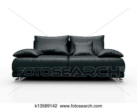 Clip Art Of Black Leather Sofa Isolated On White Background