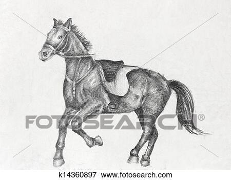 Bleistift Zeichnen Von A Laufende Pferd Stock Illustration
