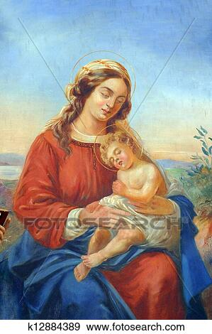 stock photograph of blessed virgin mary with baby jesus k12884389