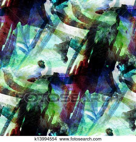 Dessins Bleu Vert Seamless Papier Peint Aquarelle Resume