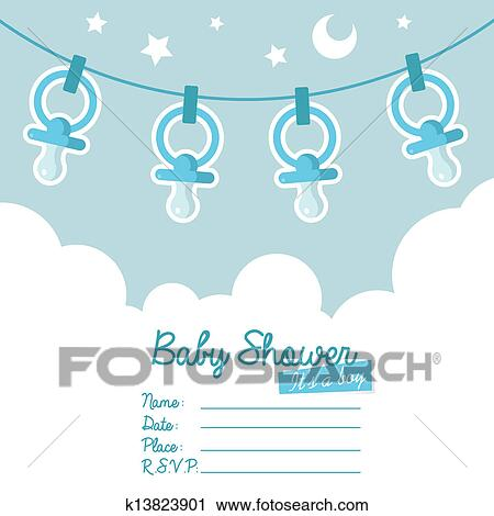 Clipart Of Blue Baby Shower Invitation With Pa K13823901 Search