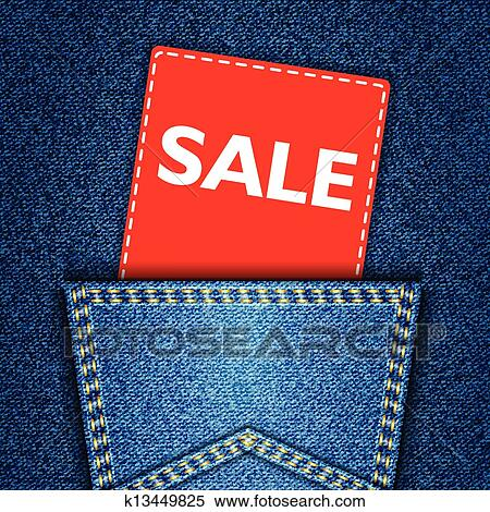 clipart of blue back jeans pocket realistic denim texture with sale