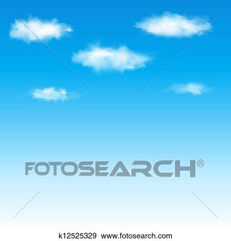 Blue sky with clouds  Vector illustration  Clip Art