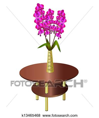 Clip Art Of Bouquet Of Orchids In Vase On Coffee Table K13465468