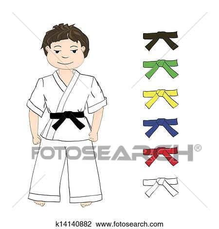 Clipart Of Boy Karate And Colored Belts K14140882