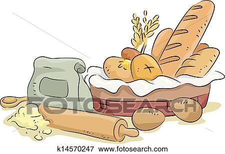 Bread أيضا خبز أسلحة أيضا Ingredients Clip Art K14570247 Fotosearch