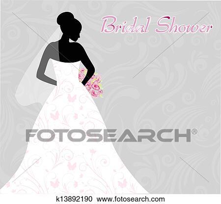Bridal Shower Invitation With Bride S Silhouette On Swirls Light Background