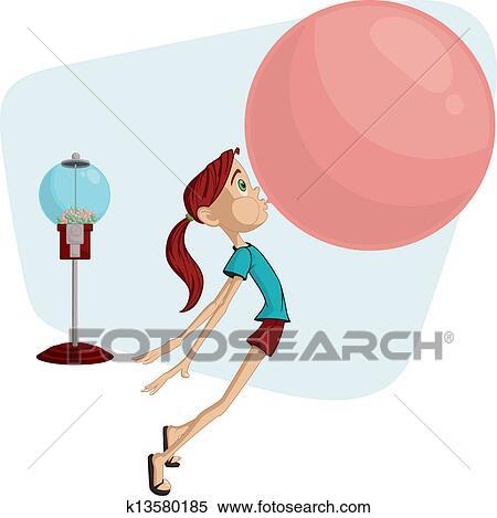 clipart of bubble gum girl k13580185 search clip art illustration rh fotosearch com bubble gum machine clipart bubble gum clip art images