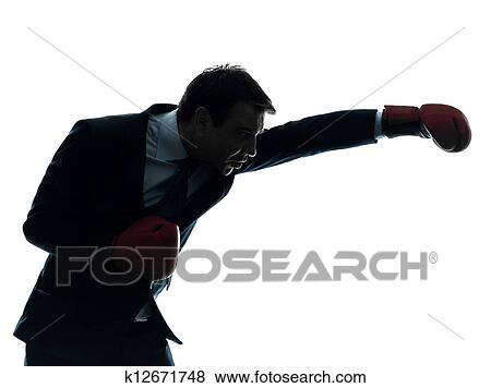 pictures of business man boxer with boxing gloves silhouette