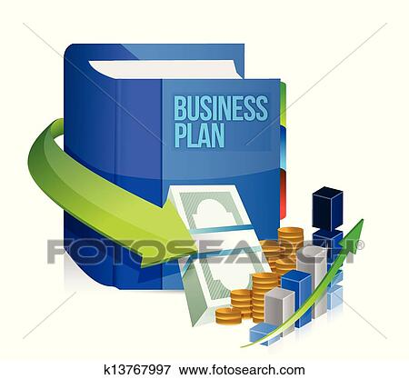 clip art of business plan book money and graph illustration