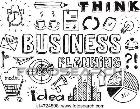 6dbfe003e79 Business planning doodles elements Clip Art