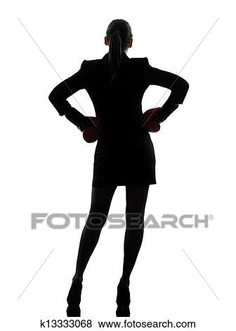 pictures of business woman ready fighting boxing gloves silhouette