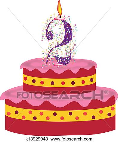 Awe Inspiring Cake Of Second Birthday Clip Art K13929048 Fotosearch Funny Birthday Cards Online Eattedamsfinfo