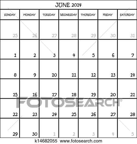 Calendario Mese Giugno.Calendario Pianificatore Mese Giugno 2014 Su Trasparente Fondo Clipart