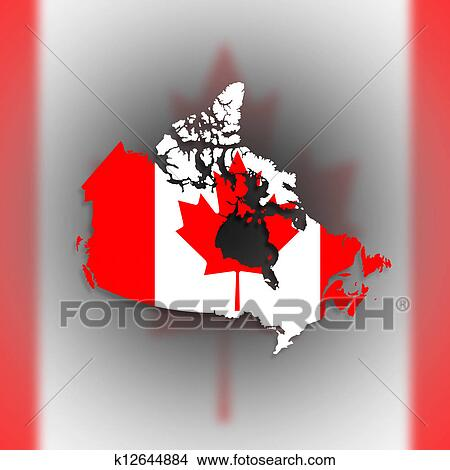 Canada Map Flag.Drawings Of Canada Map With The Flag Inside K12644884 Search Clip