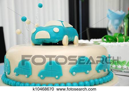 Miraculous Car Birthday Cake Stock Image K10468670 Fotosearch Personalised Birthday Cards Cominlily Jamesorg