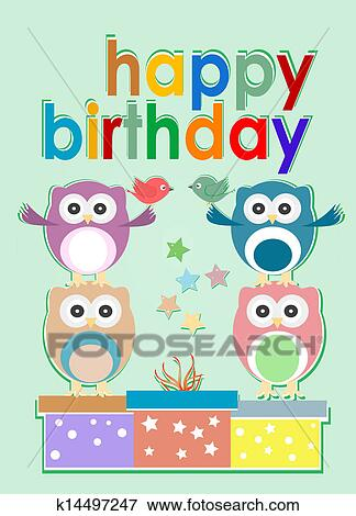 Stock Illustration Of Card With Cute Owl Birds And Gift Boxes