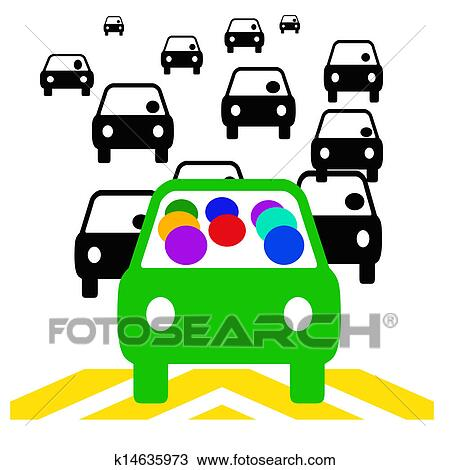 drawing of carpool commute k14635973 search clipart illustration rh fotosearch com
