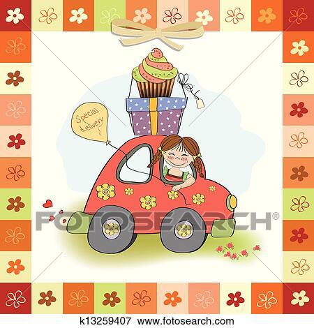 Carte Anniversaire A Rigolote Petite Fille Clipart K13259407 Fotosearch