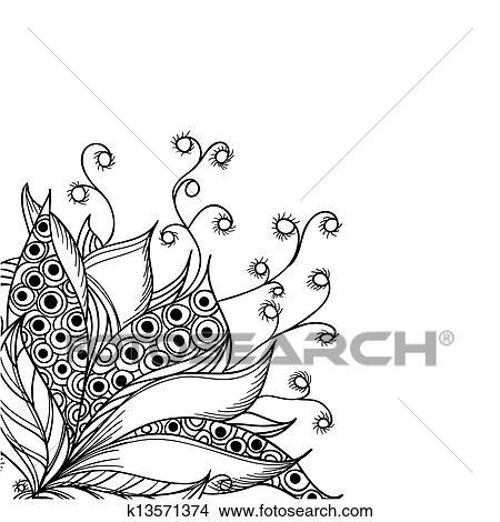 Carte Gabarit à Fantasme Noir Blanc Fleur Clipart