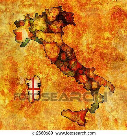 Carte Italie Et Sardaigne.Carte Italie A Sardaigne Region Banque D Illustrations