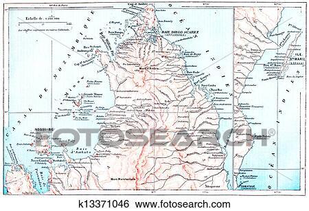 Carte Topographique De Madagascar.Carte Topographique De Saint Mary Ile Dans Madagascar Vendange Grave Illustration Dictionnaire De Mots Et Choses Larive Et