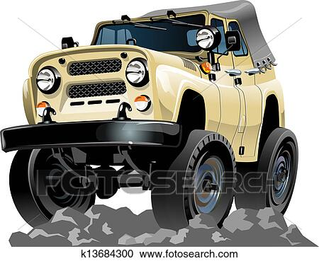Cartone animato jeep clipart k fotosearch