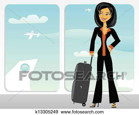 Clip Art Of Cartoon Asian Business Woman In An Airport K13305249
