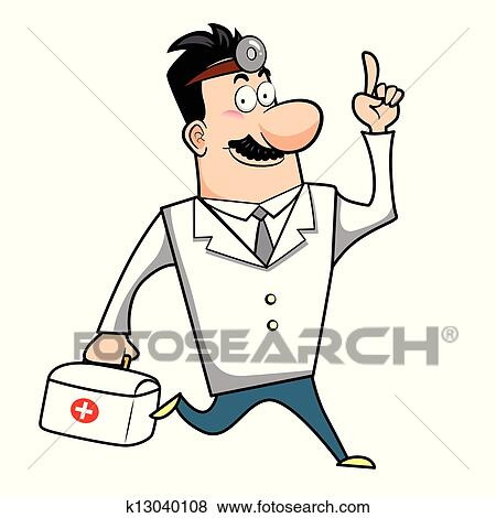 Clip Art Of Cartoon Doctor With First Aid Kit K13040108