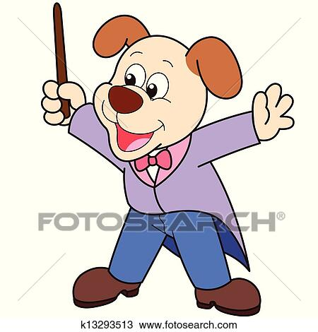 clipart of cartoon dog music conductor k13293513 search clip art rh fotosearch com music conductor clipart music conductor clipart