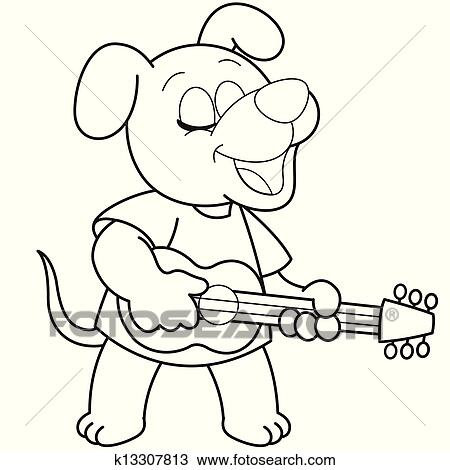 Clipart Of Cartoon Dog Playing A Guitar K13307813