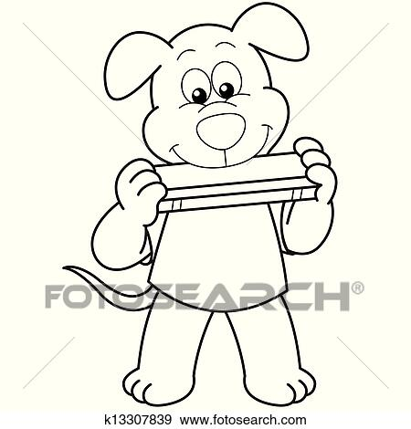 Cartoon Dog Playing A Harmonica Clip Art
