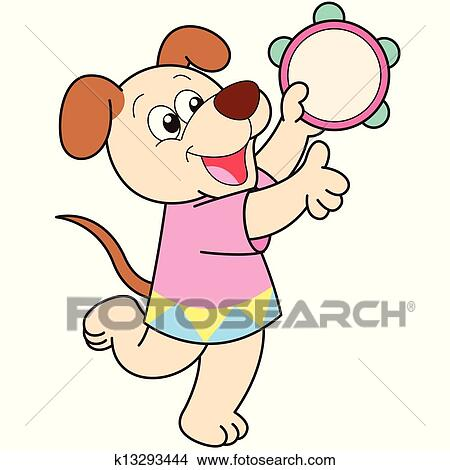 clipart cartoon dog playing a tambourine fotosearch search clip art illustration murals