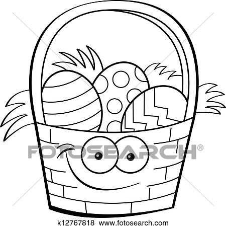 Black And White Illustration Of An Easter Basket Filled With Decorated Eggs