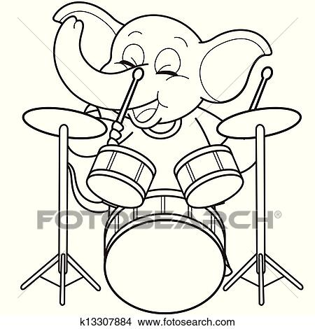 Cartoon Elephant Playing Drums Clipart