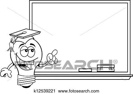 Clipart Of Cartoon Light Bulb At A Blackboard K12539221 Search