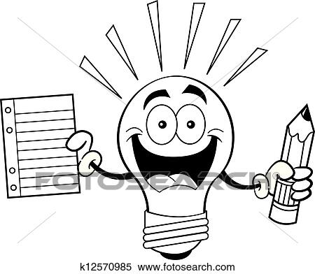 Clipart Of Cartoon Light Bulb Holding A Paper K12570985 Search