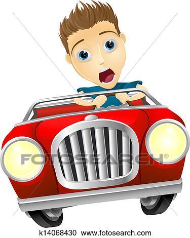 Clipart of Cartoon man driving fast car k14068430 - Search Clip Art ...